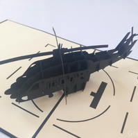 Handmade 3D Laser Cut Pop Up Krigami Greeting Cards Helicopter Design GrandGift