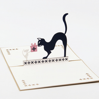Cat animials 3D pop up handmade laser cut vintage cards Pet paradise creative gi