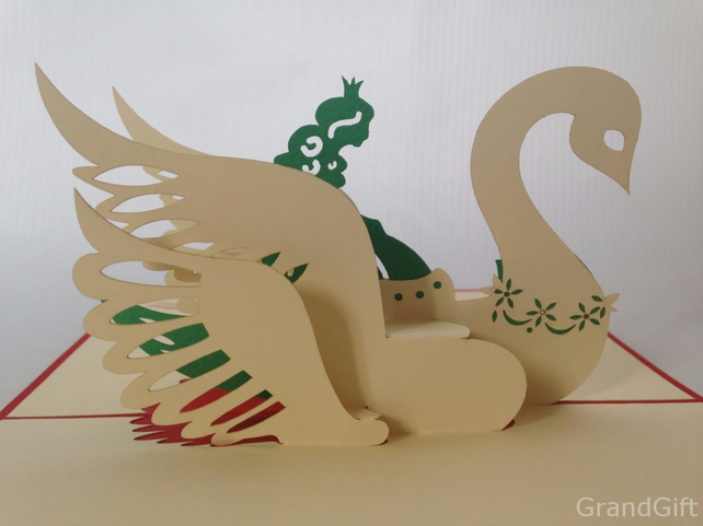 Swan , Love 3D Pop Up Greeting Card Handmade Happy Birthday Wedding Anniversary