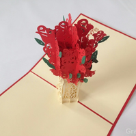 Roses Boutique Fantastic Flower Handmade Kirigami & Origami 3D Pop UP Greeting C