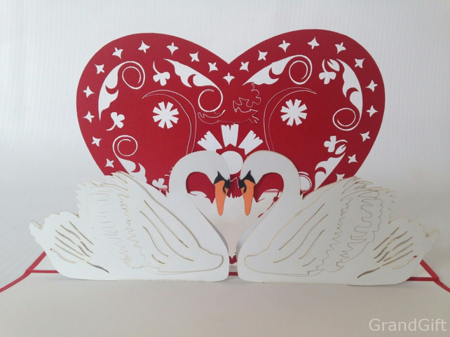 Swan heart , Love 3D Pop Up Greeting Card Handmade Happy Birthday Wedding Annive