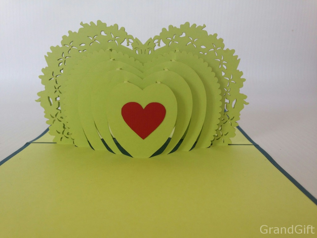 Heart to heart 3D Pop Up Greeting Cards Anniversary Baby Birthday Easter Hallowe