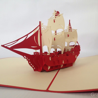 Sailing Boat 3D Pop Up Greeting Card Handmade Happy Birthday Wedding Anniversary