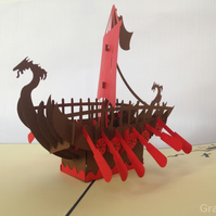 Sailing Viking Boat 3D Pop Up Greeting Card Handmade Happy Birthday Wedding Anni