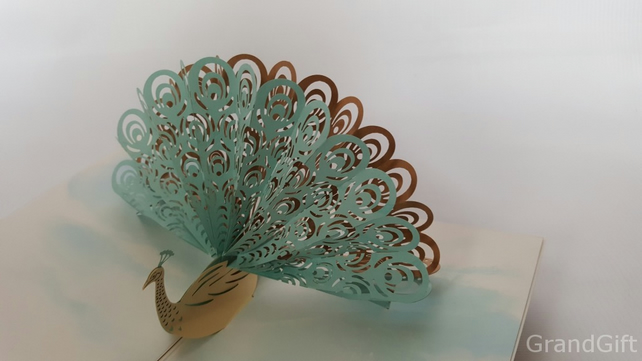Amazing Cool 3D Pop up Cards Custom Greeting Cards 3D Peacock …GrandGift
