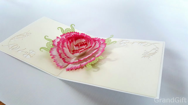 Flower Handmade Kirigami & Origami 3D Pop UP Greeting Mother's Day GrandGift