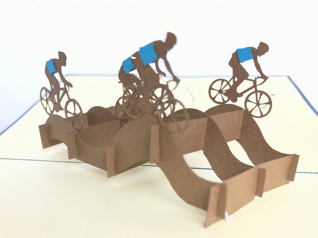 cycling team , bike , sport 3D Pop Up Greeting Card Handmade Happy Birthday Wedd