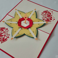 Diwali Flower Handmade Kirigami & Origami 3D Pop UP Greeting Mother's Day