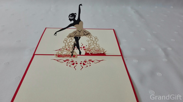 Ballerina Field 3D Pop Up Greeting Card Handmade Happy Birthday Wedding Ann