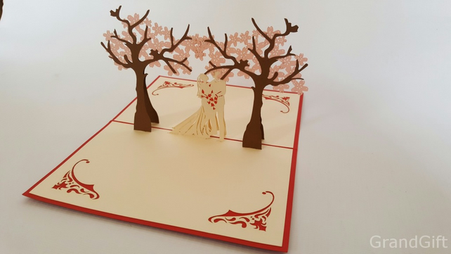 Wedding couple under the cherry blossom tree Handmade Happy Birthday cards