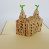 Liverpool liver buidling 3D Pop Up Greeting Cards Birthday, London, GrandGift