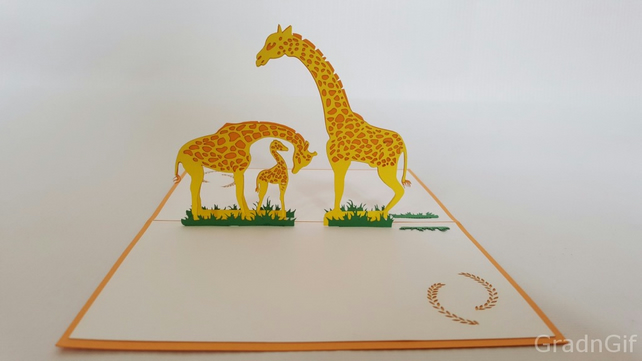 Giraffe family anim 3D pop up handmade laser cut vintage cards Pet paradise crea