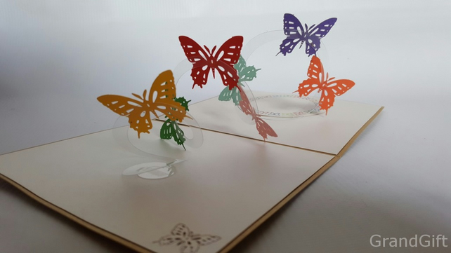 Flying butterfly spiral kids  Handmade Kirigami & Origami 3D Pop UP Greeting C