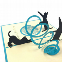 Cat playing 3D Pop Up Greeting Card Handmade Happy Birthday Wedding Anniversary