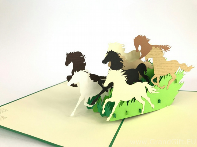 Wild Horses 3D Pop Up Greeting Cards Anniversary Baby Birthday Easter Halloween