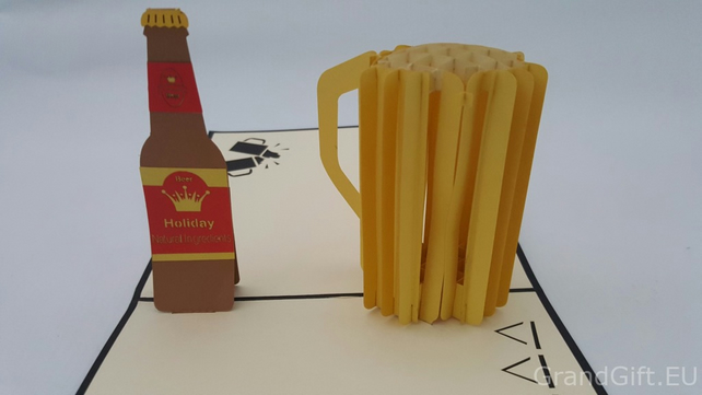 Beer 3D Pop Up Greeting Card Handmade Happy Birthday Wedding Anniversary Frie