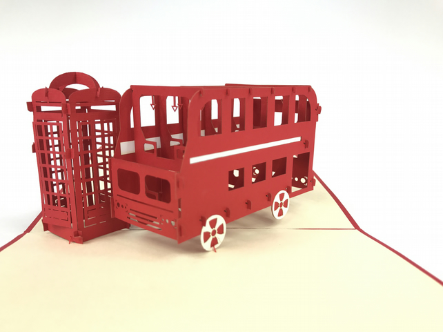 public phone&London Bus 3D Pop Up Greeting Cards Anniversary Baby Birthday Easte
