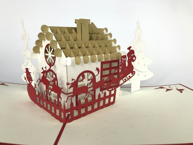 Christmas Village House train rainder Handmade 3D Pop UP Greeting&Thank You Card