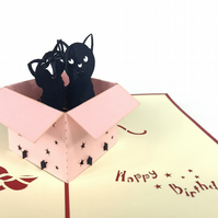 Birthday Cat Pop Up Greeting Card Handmade Happy Birthday Wedding Anniversary