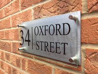 Modern house sign plaque door number street or house name glass effect aluminium