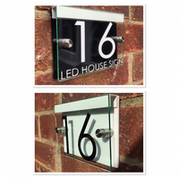 Modern House Sign door number street glass acrylic black or white led holder