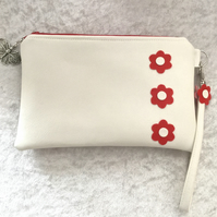 White Faux Leather Clutch Bag With Red Flower Design FREE P&P