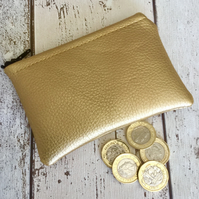 Gold Faux Leather Coin Purse