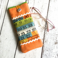 Orange Faux Suede Measure Themed Glasses Case
