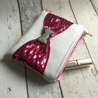 White Faux Leather Clutch With Pink Sequinned Bow Decoration FREE P&P