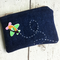Denim Coin Purse With Aerobatic Decoration