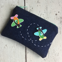 Coin Purse with Aeroplane Button Embellishment