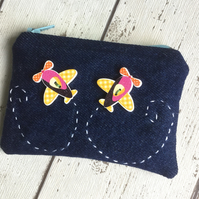 Aerobatic Themed Denim Coin Purse