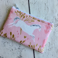 Pink Unicorn Themed Fabric Coin Purse