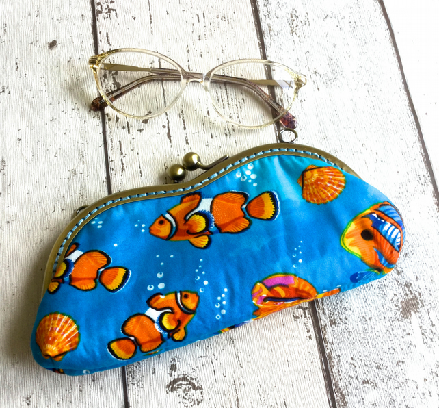 Marine Themed Fabric Glasses Case