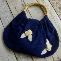 Faux Bamboo Handled Blue Needlecord Handbag FREE P&P