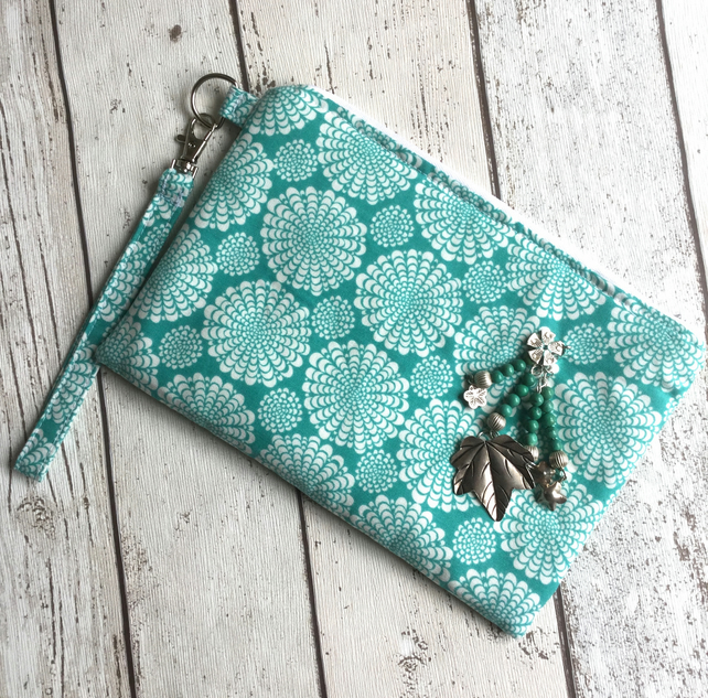 Turquoise & White Fabric Clutch Bag with Matching Nail File Holder FREE P&P