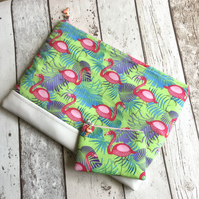 Flamingo Themed Large Clutch Bag & Coin Purse Set