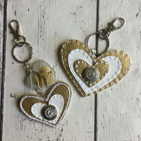 Set of 2 Gold & White Faux Leather Heart Shaped Bag Charms