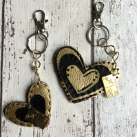 Set of 2 Gold & Black Faux Leather Heart Bag Charms