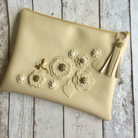 Cream Faux Leather Clutch with Flower Detail.