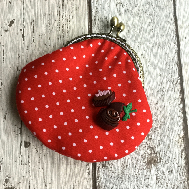 Chocolate Themed Fabric Clasp Coin Purse