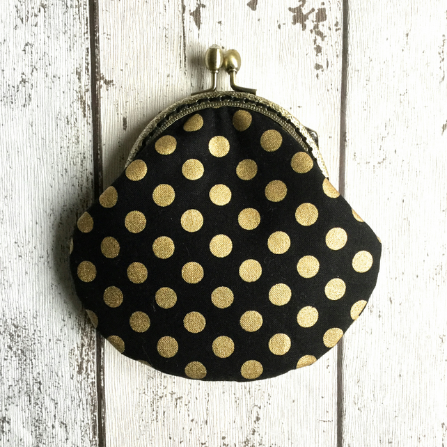 Black & Gold Spotty Handmade Clasp Purse