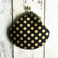 Black & Gold Spotty Fabric Clasp Coin Purse