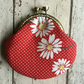 Red & White Spotty Clasp Coin Purse with Daisy Design