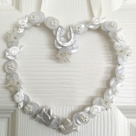 White Wedding Wire Button Hanging Heart