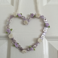 Lavender Coloured Hanging Wire Button Heart