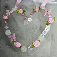 Pink Wire Button Hanging Heart