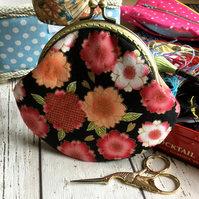 Japanese Inspired Floral Clasp Coin Purse