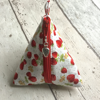 Strawberry Themed Fabric Pyramid Purse