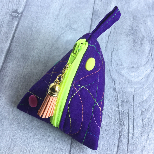 Neon Zipped  Purple Fabric Pyramid Purse